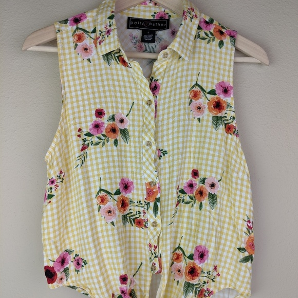 Polly & Esther Tops - Polly & Esther Yellow Gingham Floral Tie Waist Top